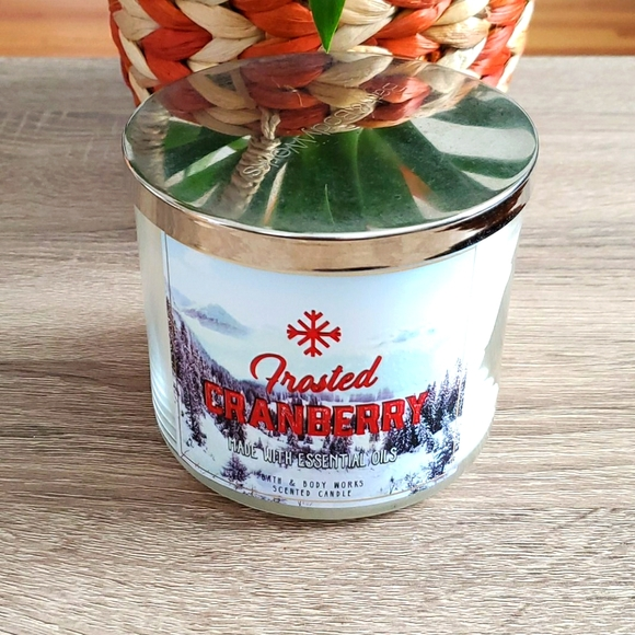 Bath & Bodyworks frosted cranberry candle